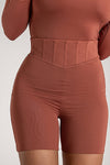 Chaya High Waisted Boned Bike Short - Chocolate