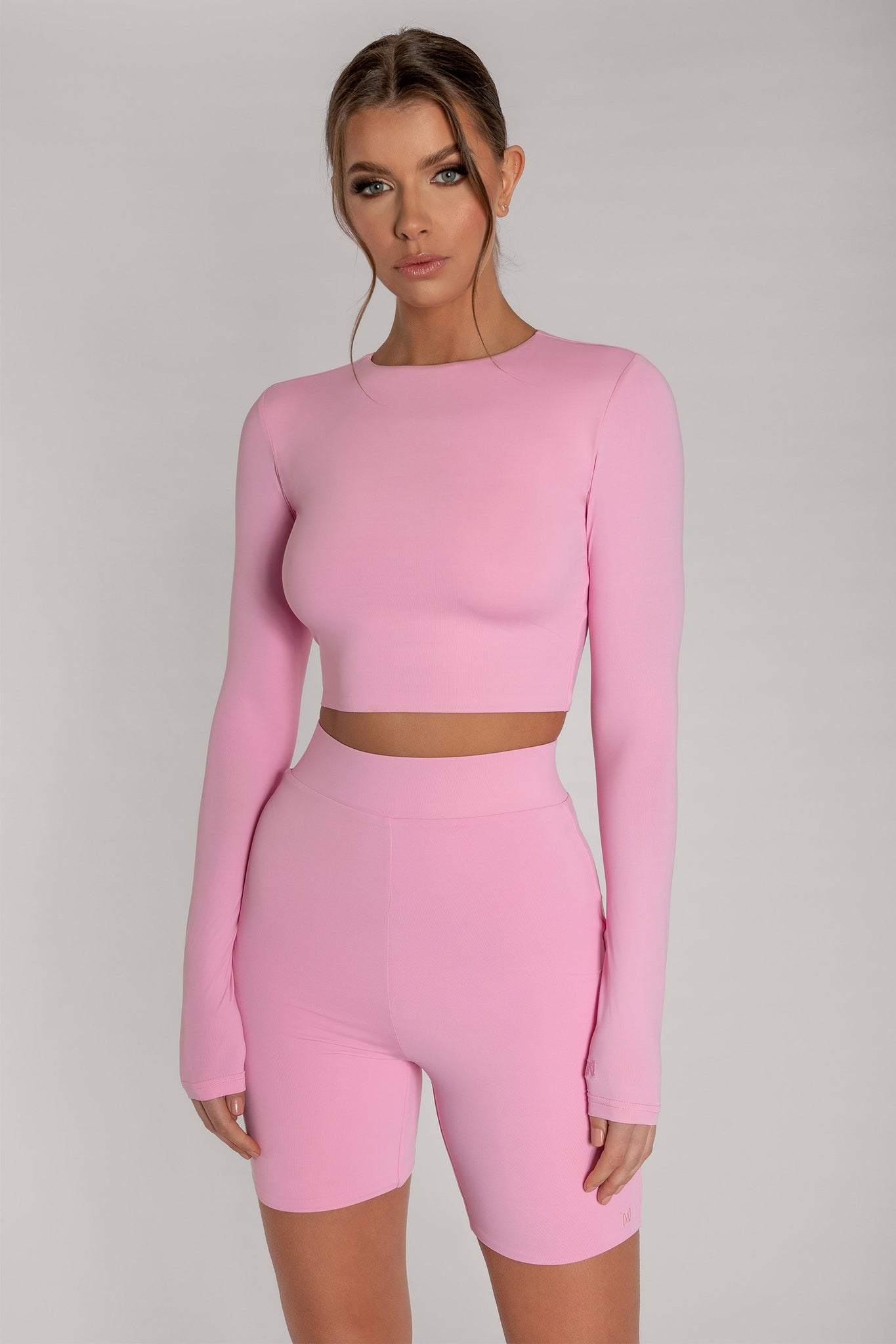Emely Long Sleeve Crop Top - Pink - MESHKI