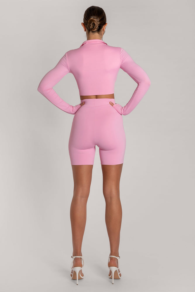 Ashlea Long Sleeve Zip Up Crop Top - Pink - MESHKI