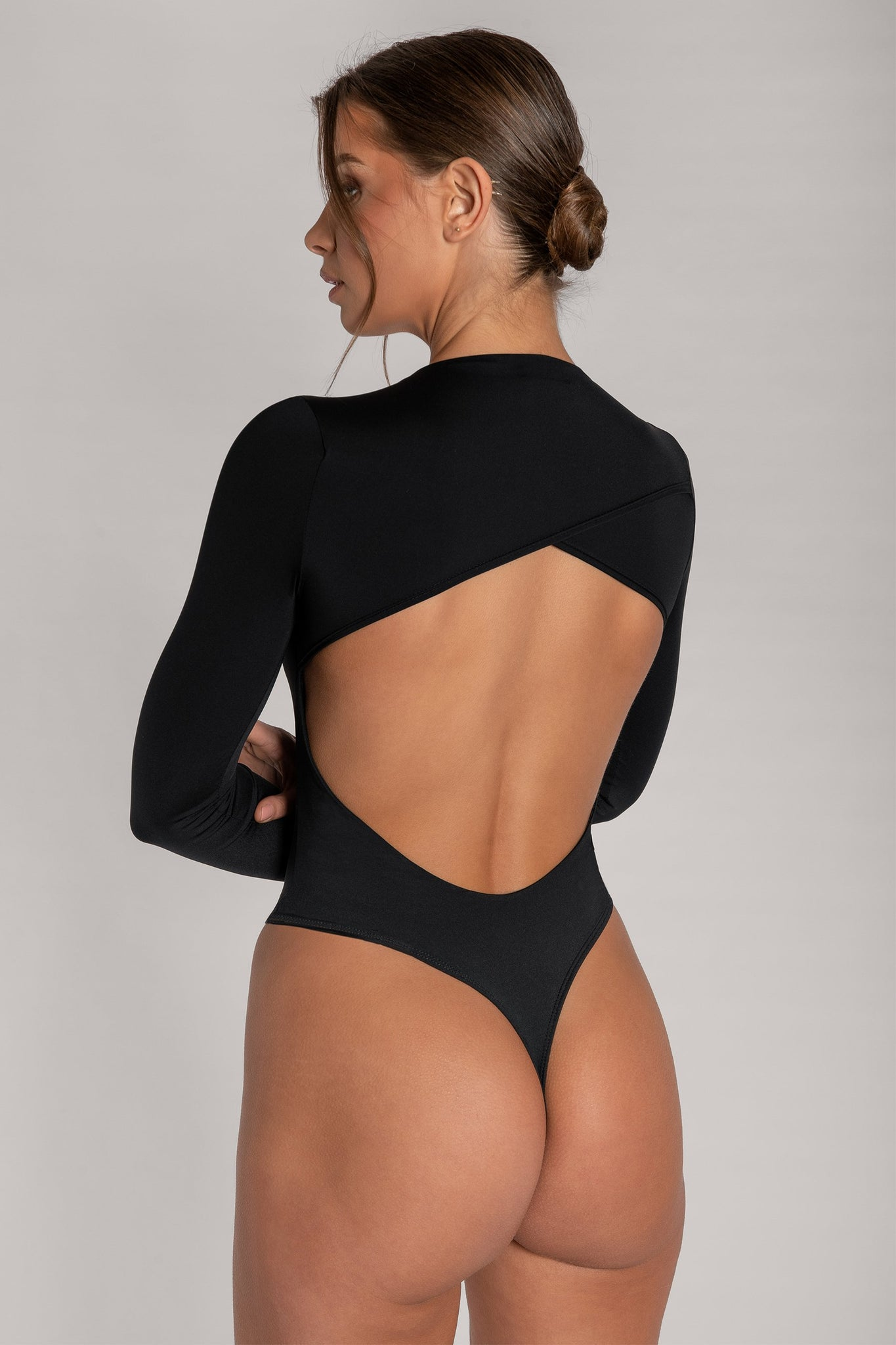 Rayne Cut Out Long Sleeve Bodysuit - Black - MESHKI