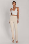 Mei Luxe Jersey Full Length Wide Leg Trouser - Cream