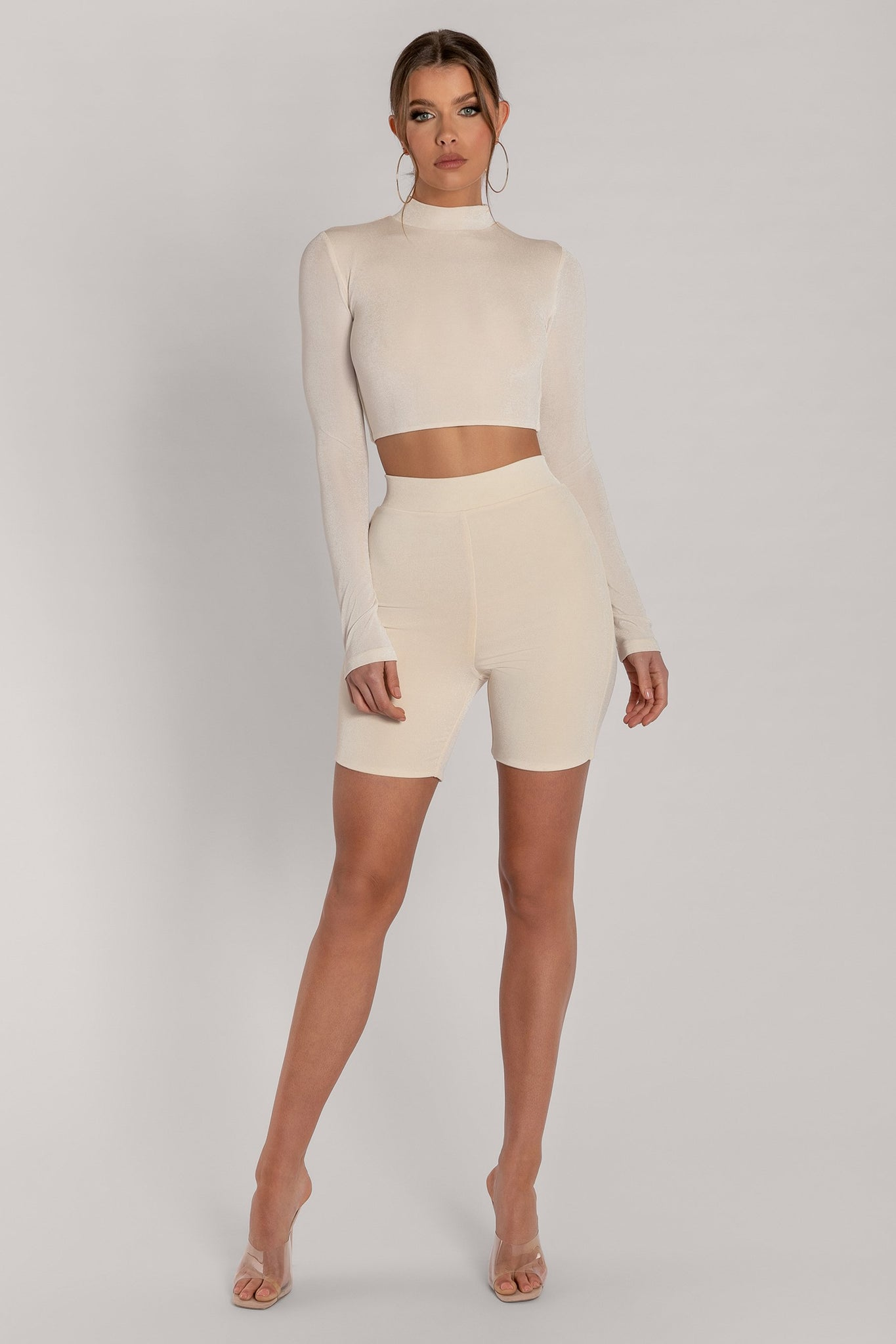 Georgina Luxe Jersey High Neck Long Sleeve Crop Top - Cream - MESHKI