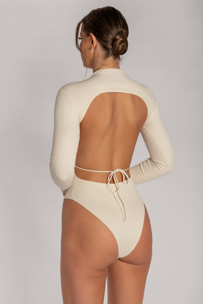 Sandy Cut Out Back Knitted Ribbed Bodysuit - Sand - MESHKI