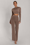 Mei Luxe Jersey Full Length Wide Leg Trouser - Taupe
