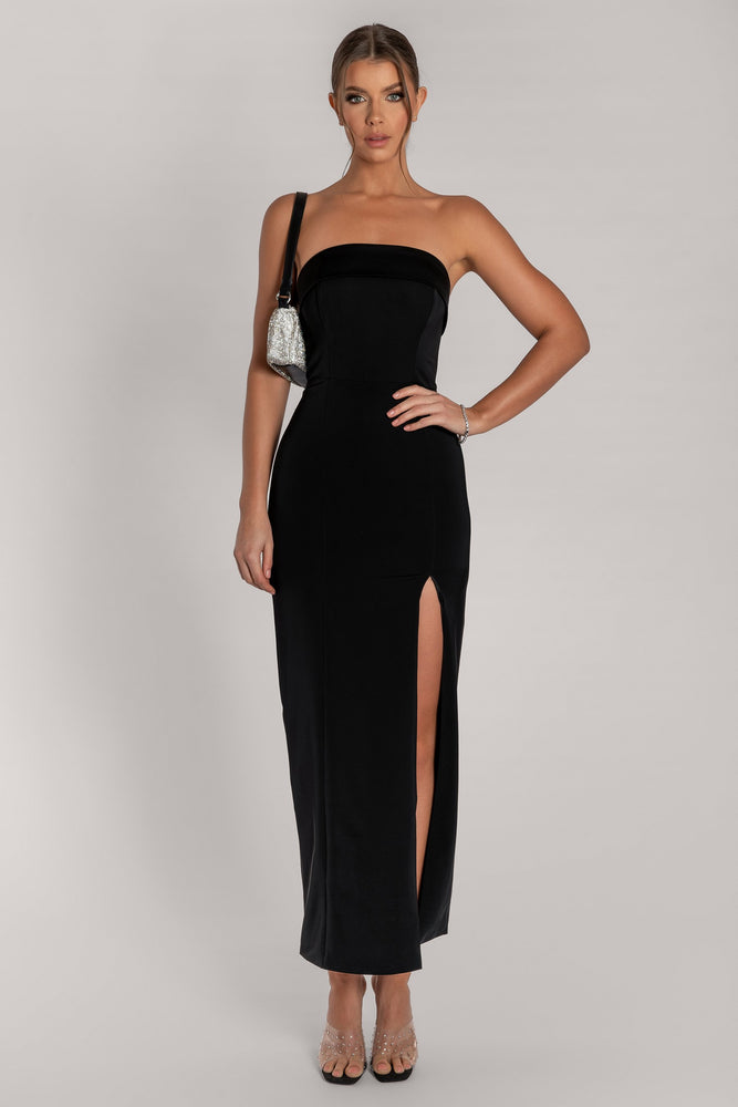 Celine Strapless Maxi Dress - Black - MESHKI