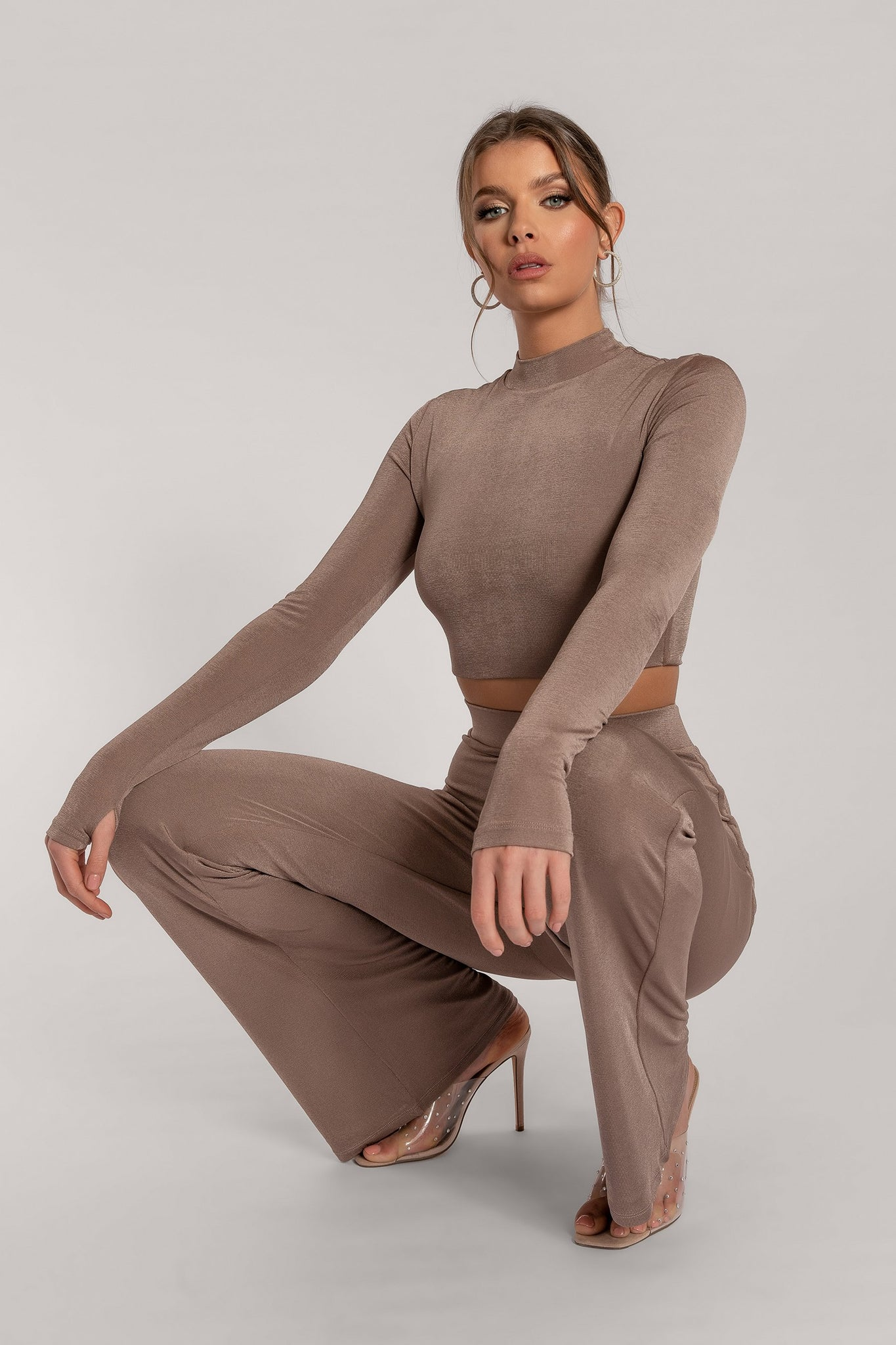 Georgina Luxe Jersey High Neck Long Sleeve Crop Top - Taupe - MESHKI
