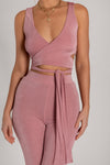 Lauren Luxe Jersey Cross Front Tie Back Crop Top - Pink