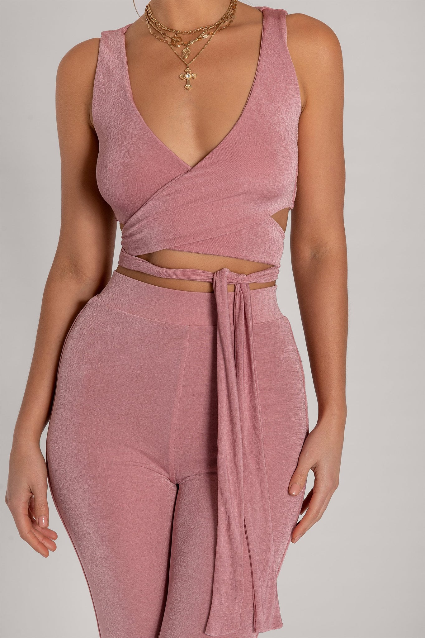 Lauren Luxe Jersey Cross Front Tie Back Crop Top - Pink - MESHKI