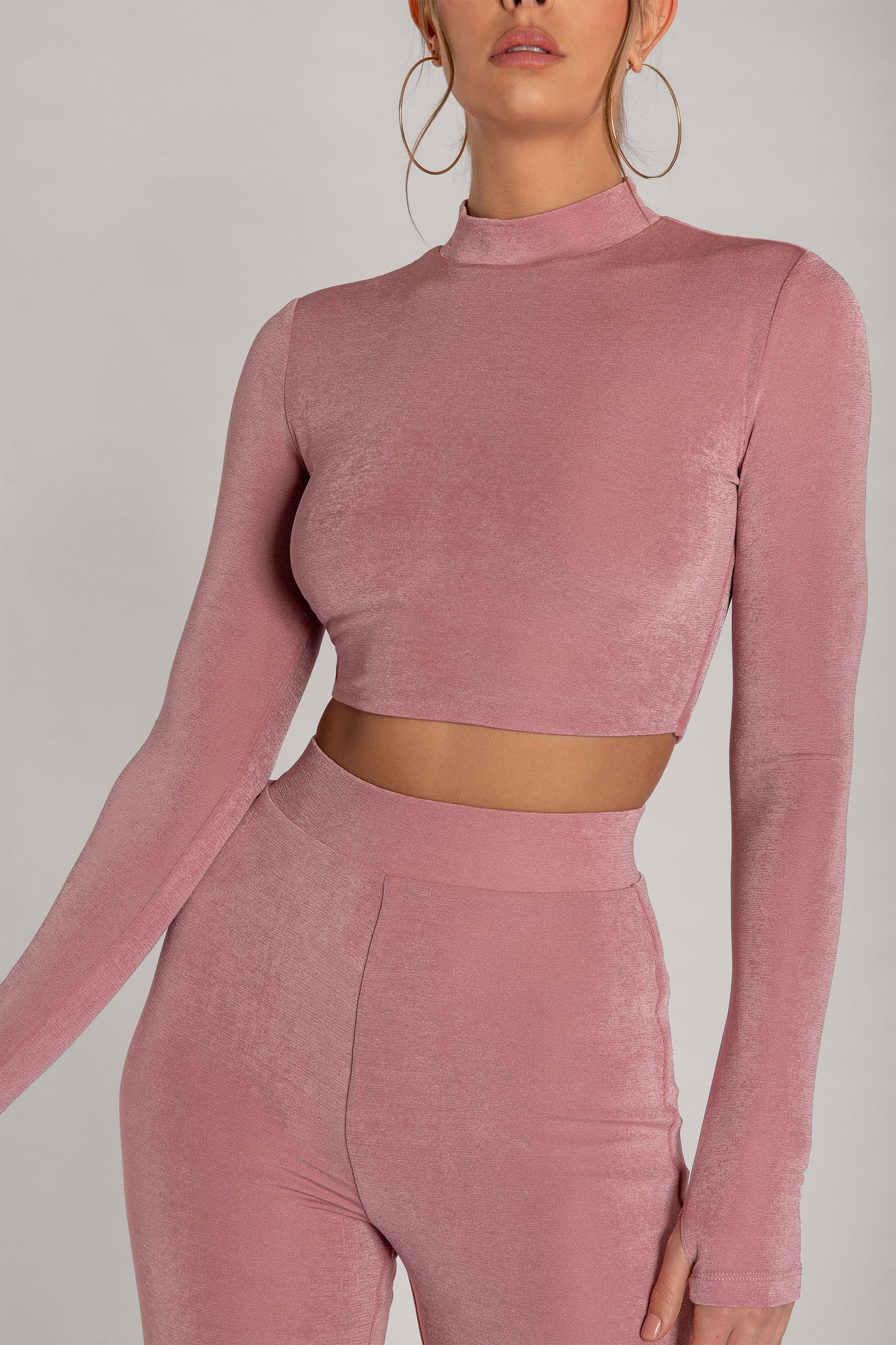 Georgina Luxe Jersey High Neck Long Sleeve Crop Top - Pink - MESHKI