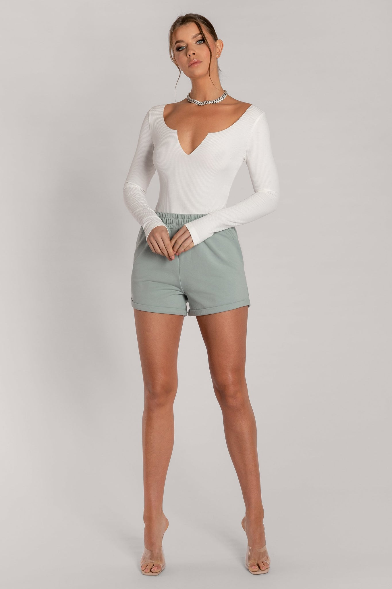 Malene V-Neck Ribbed Long Sleeve Bodysuit - White - MESHKI