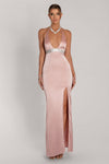 Kailey Halter Diamante Trim Maxi Dress - Dusty Pink