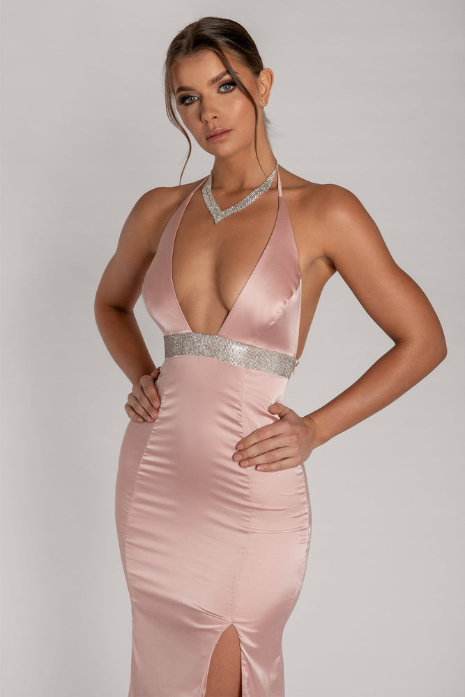 Kailey Halter Diamante Trim Maxi Dress - Dusty Pink - MESHKI
