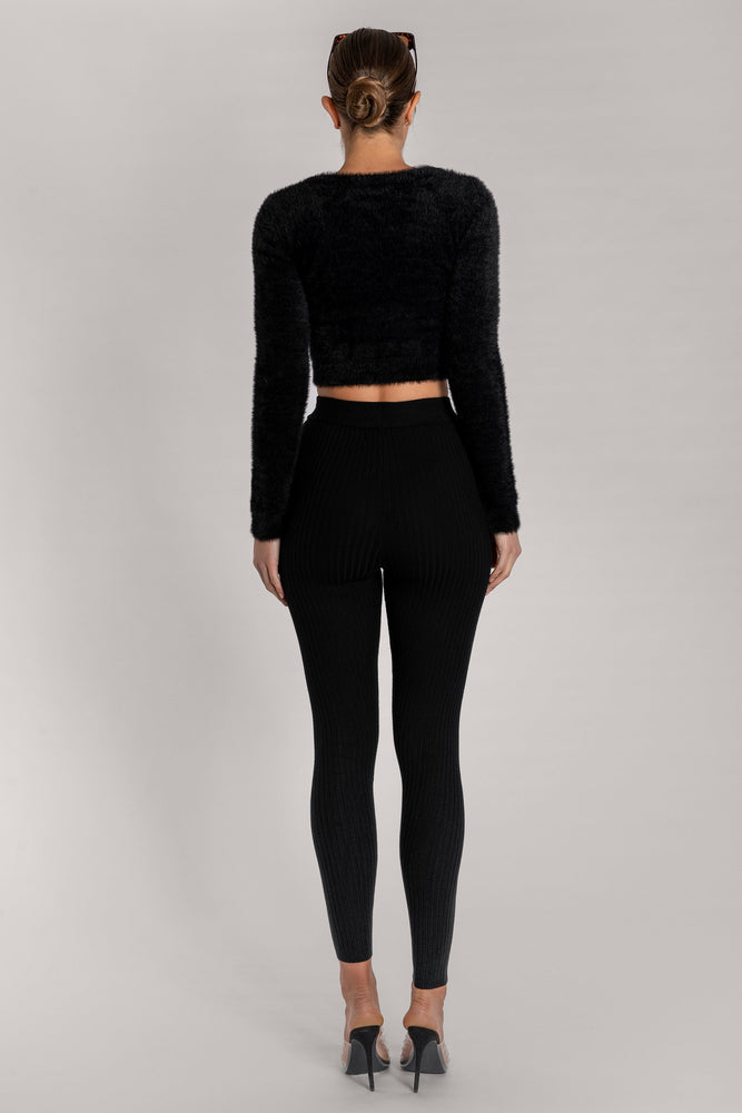 Stella Fluffy Round Neck Long Sleeve Crop Top - Black - MESHKI