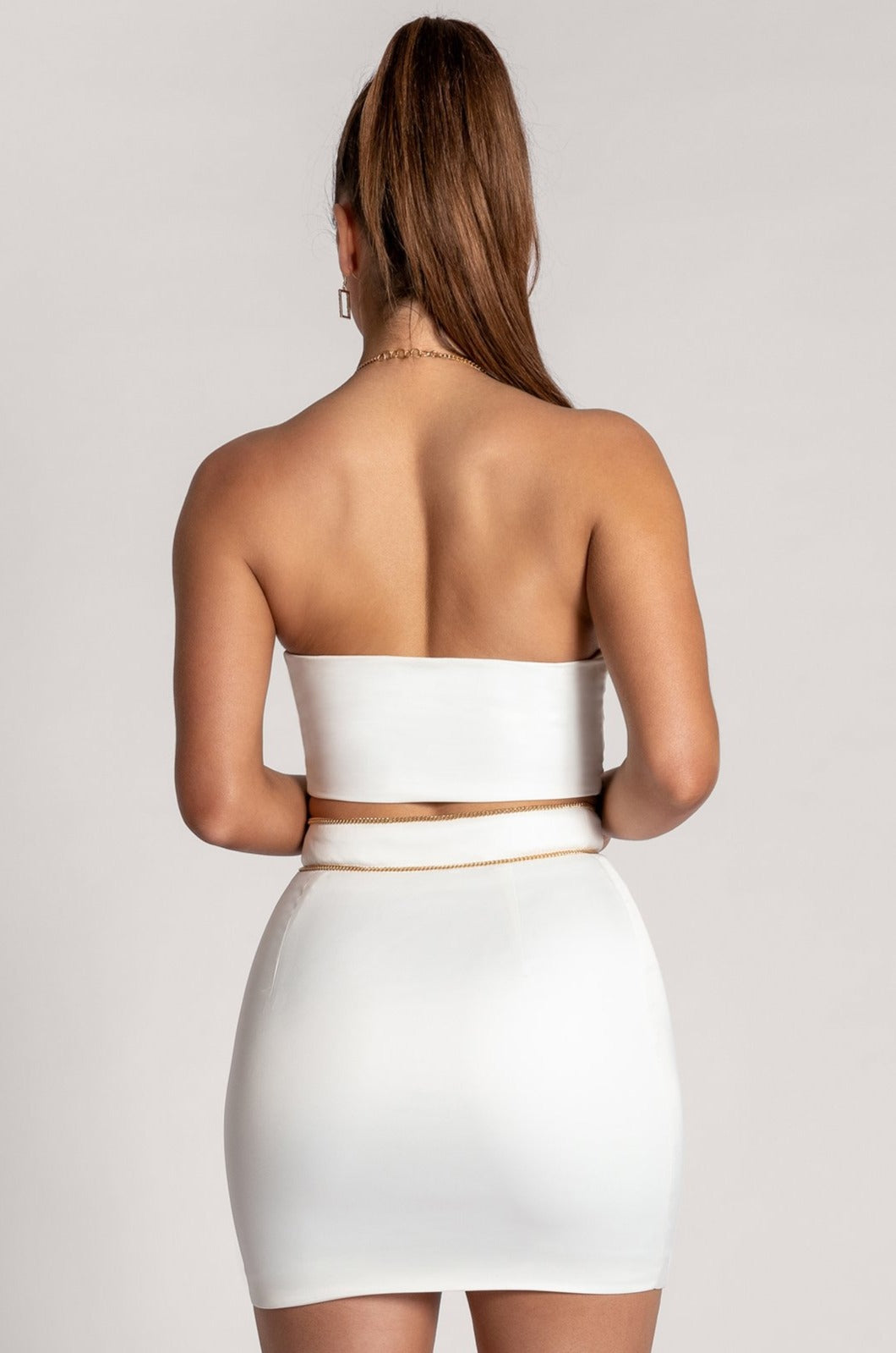 Emmalyn Cowl Neck Chain Strap Crop Top - White - MESHKI