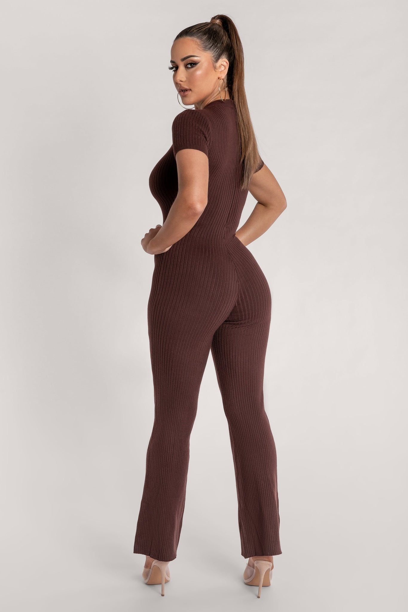 Natalee Ribbed Cap Sleeve Jumpsuit - Chocolate - MESHKI