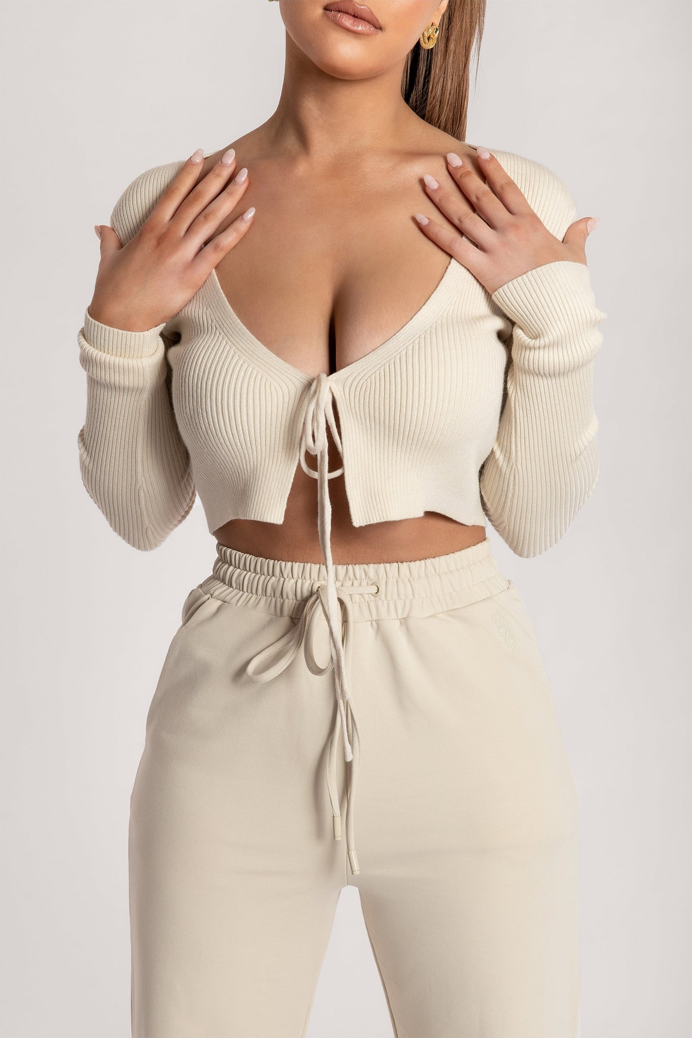 Bobbie Ribbed Tie Front Crop Top - Cream - MESHKI