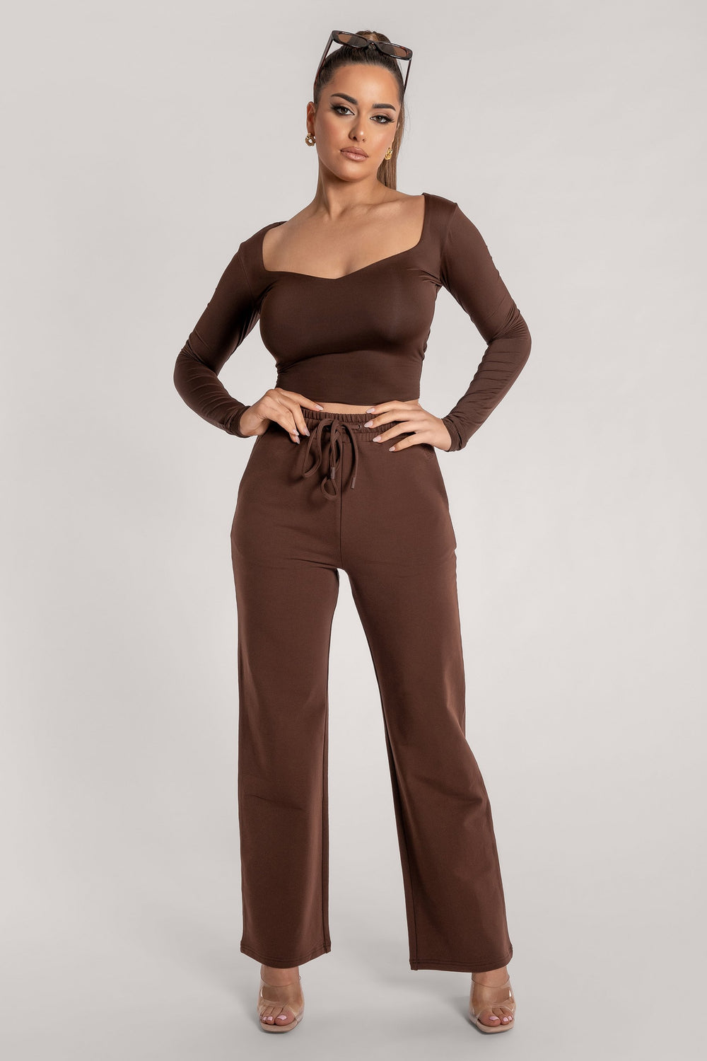 Kady Sweetheart Neckline Long Sleeve Top - Chocolate - MESHKI