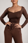 Kady Sweetheart Neckline Long Sleeve Top - Chocolate