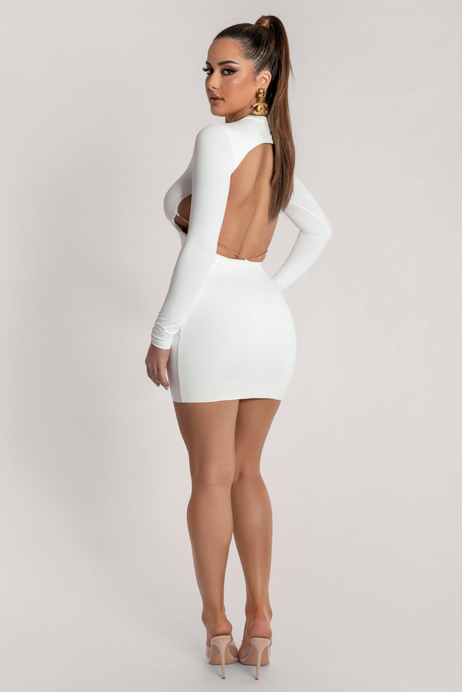 Alora Chain Detail Back Mini Dress - White - MESHKI