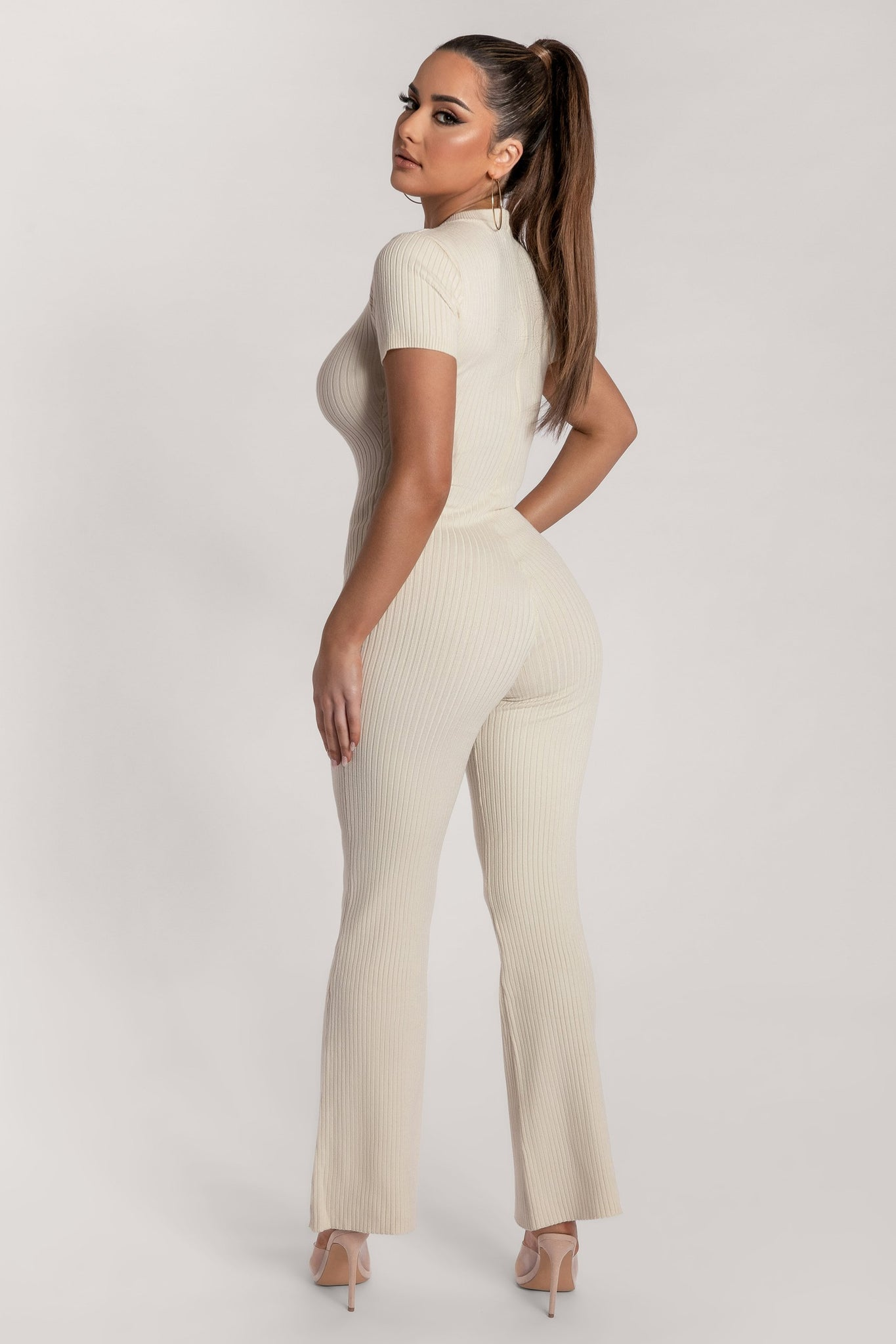 Natalee Ribbed Cap Sleeve Jumpsuit - Cream - MESHKI