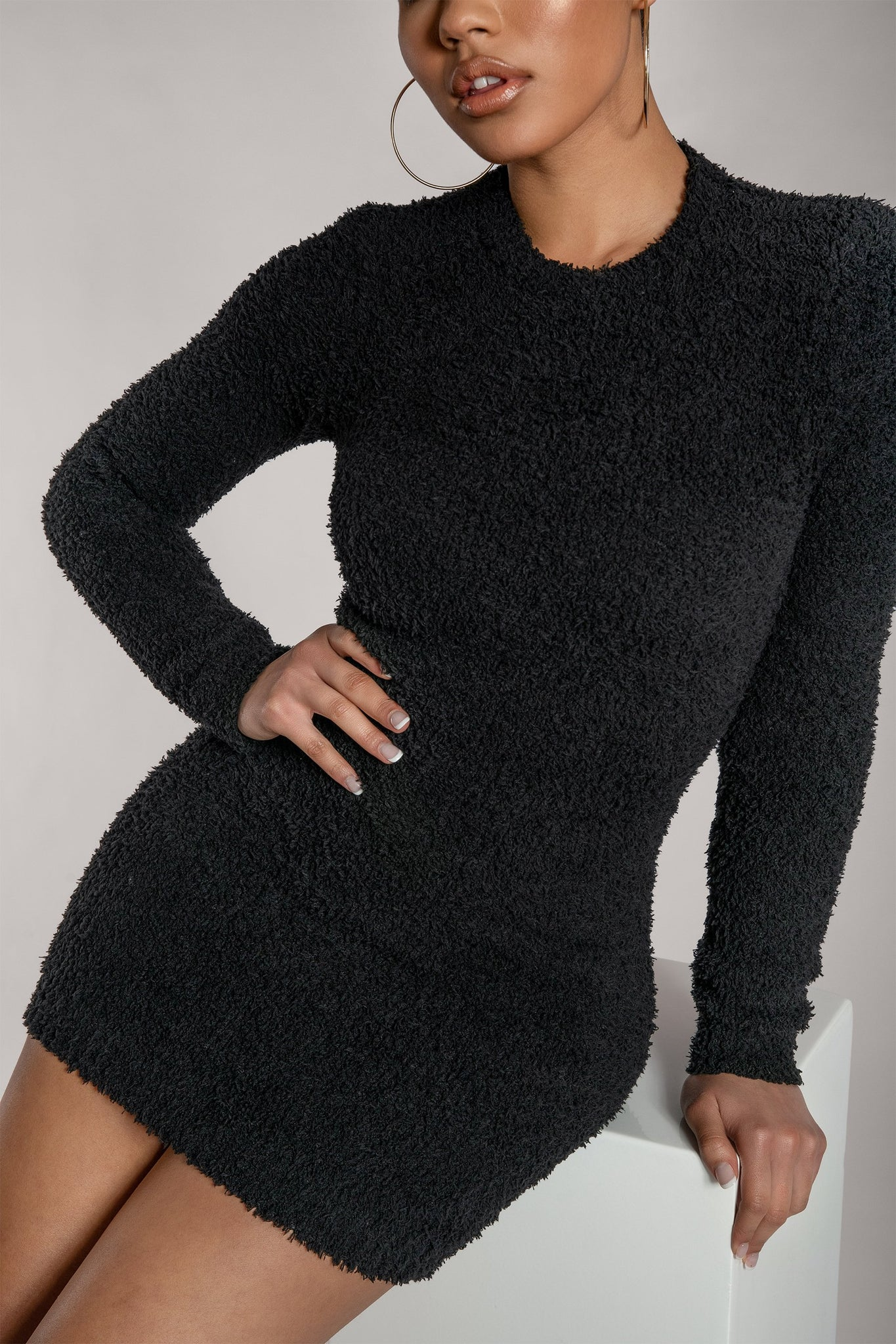 Lorin Popcorn Cut Out Back Long Sleeve Mini Dress - Black - MESHKI