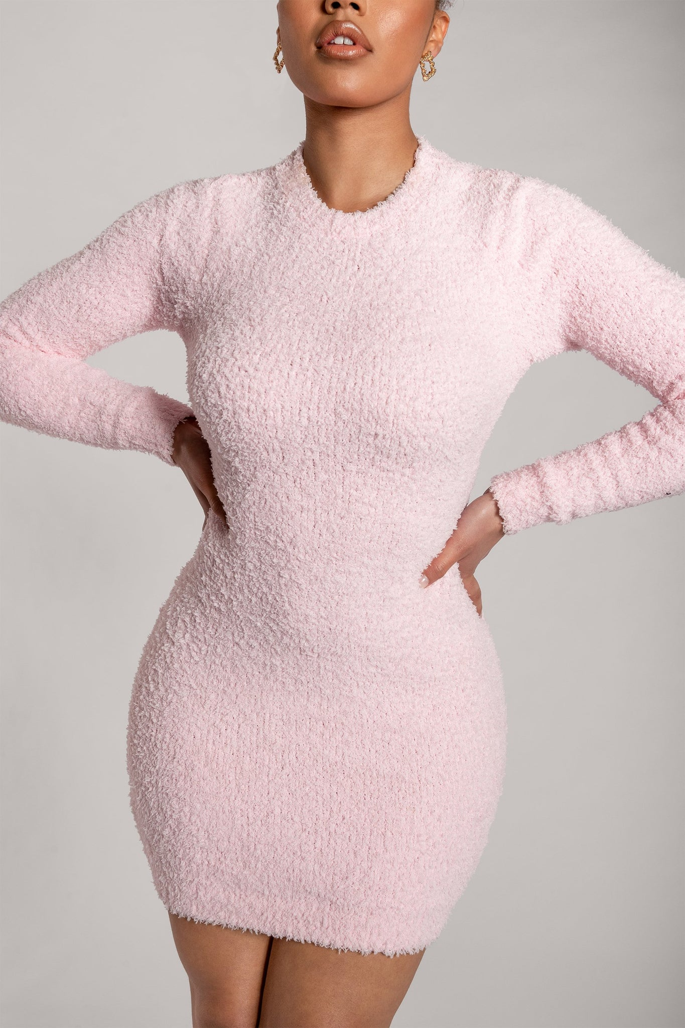 Lorin Popcorn Cut Out Back Long Sleeve Mini Dress - Baby Pink - MESHKI