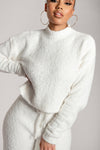 Grace Popcorn High Neck Long Sleeve Boxy Jumper - Cream