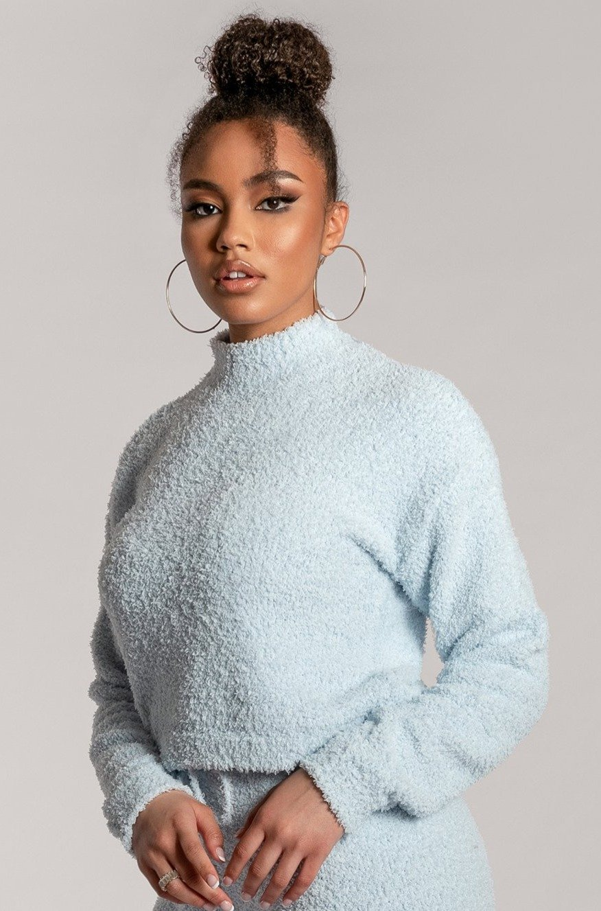Grace Popcorn High Neck Long Sleeve Boxy Jumper - Baby Blue - MESHKI