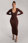 Nina Long Sleeve Ribbed Maxi Dress - Chocolate