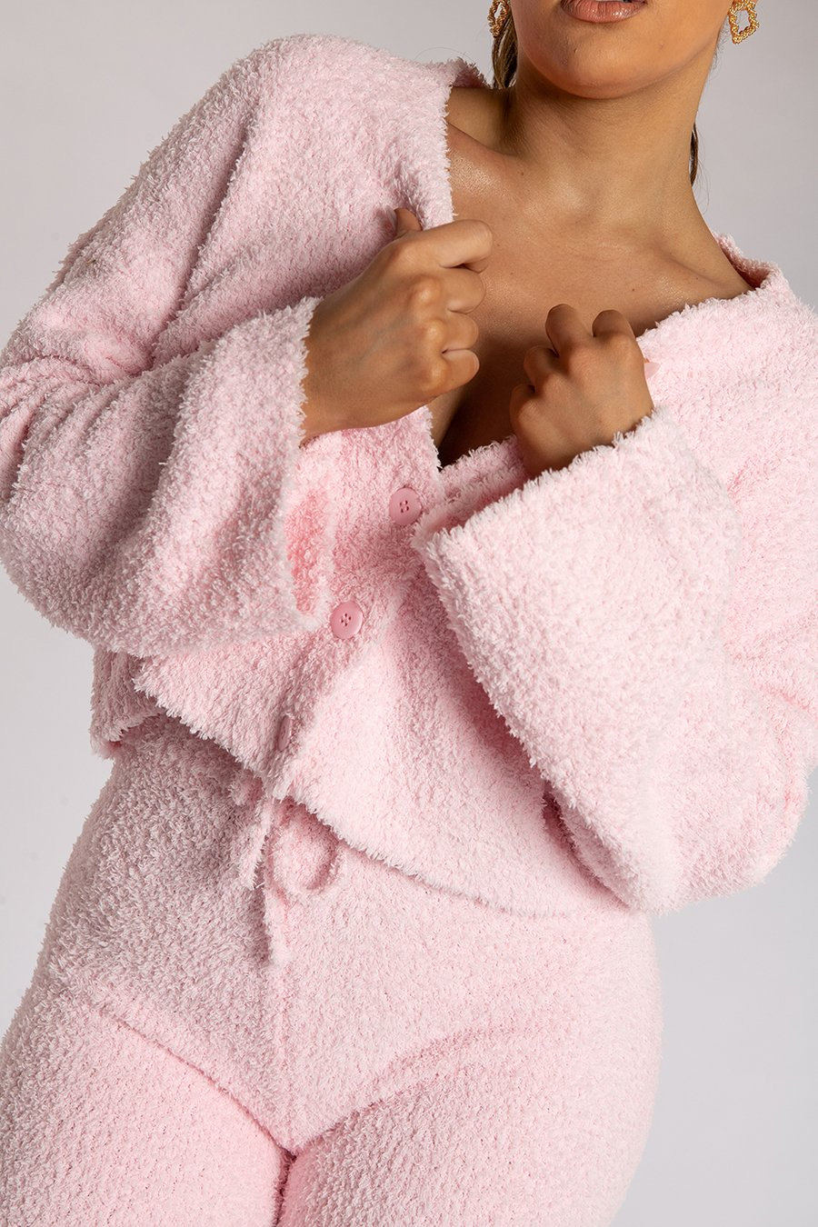 Lucie Popcorn Cropped Wide Sleeve Cardigan - Baby Pink - MESHKI