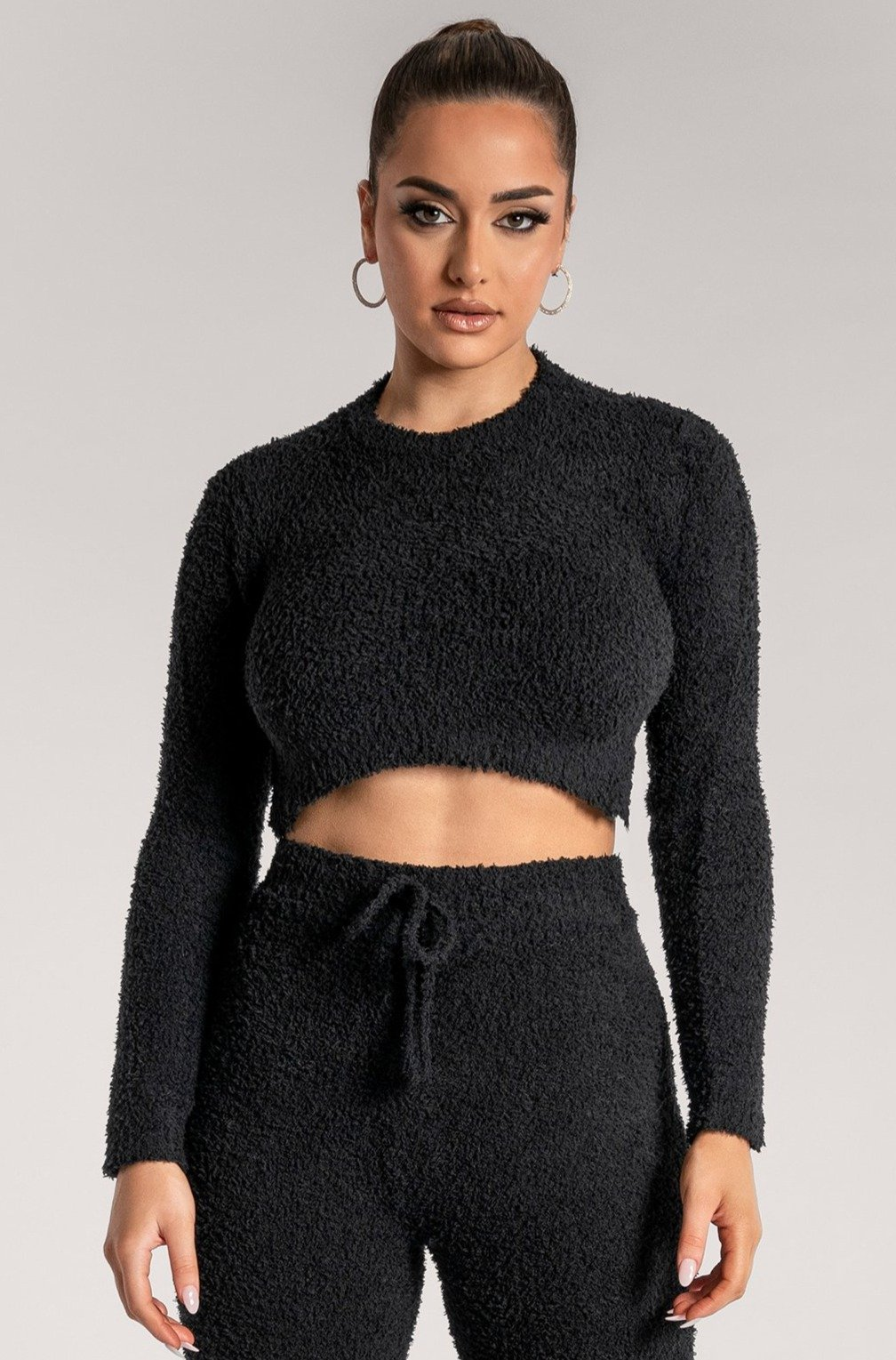 Charlotte Popcorn Long Sleeve Cut Out Back Crop Top - Black - MESHKI