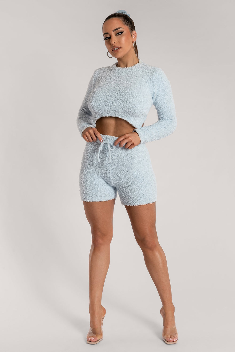 Charlotte Popcorn Long Sleeve Cut Out Back Crop Top - Baby Blue - MESHKI