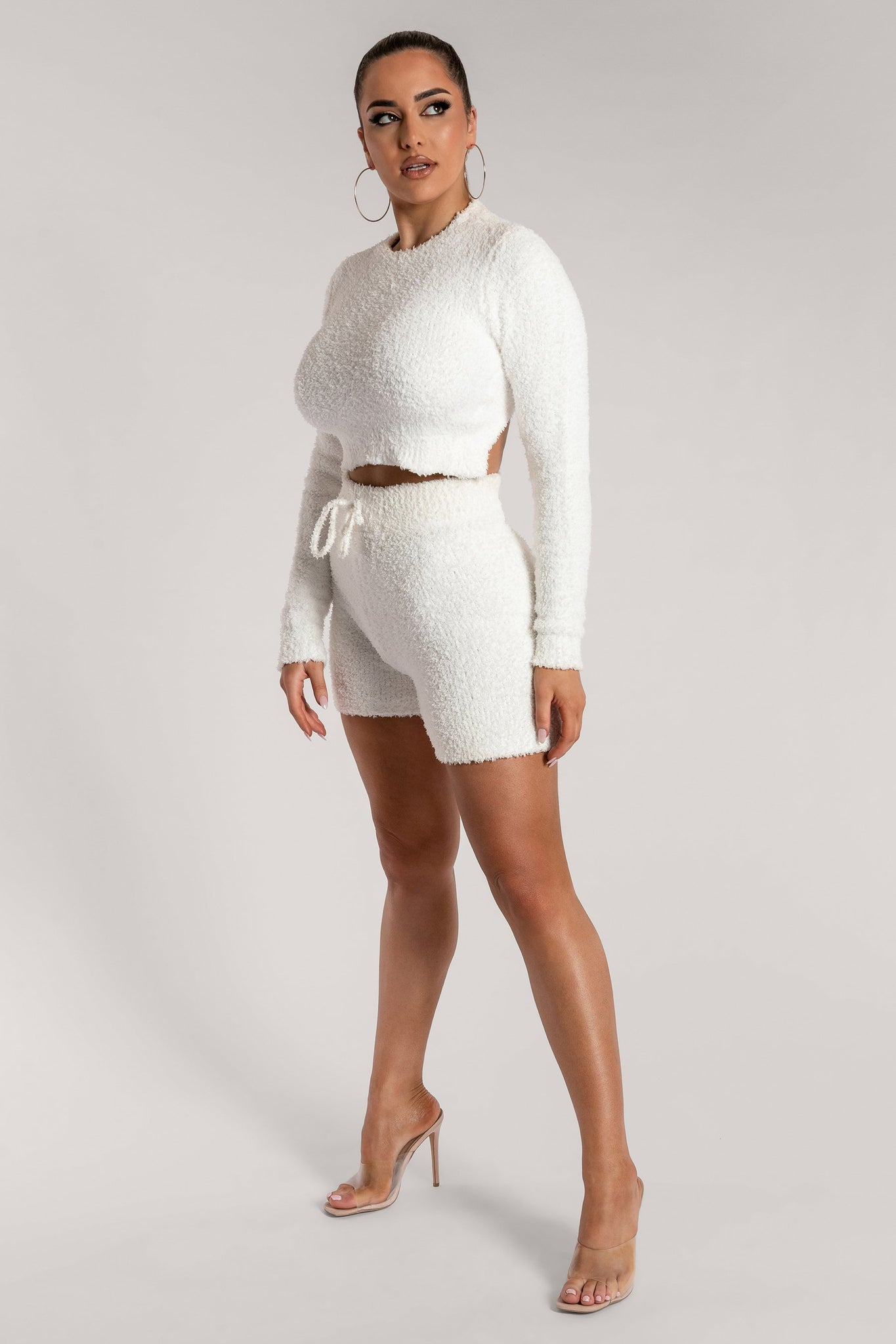 Charlotte Popcorn Long Sleeve Cut Out Back Crop Top - Cream - MESHKI