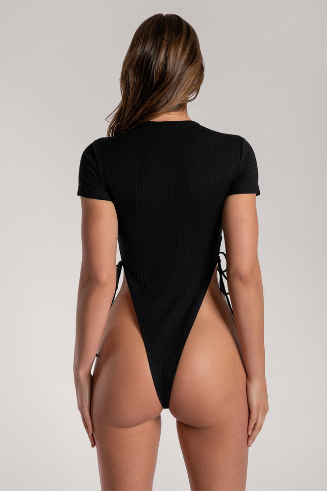 Rebecca Ribbed High Cut Bodysuit - Black - MESHKI