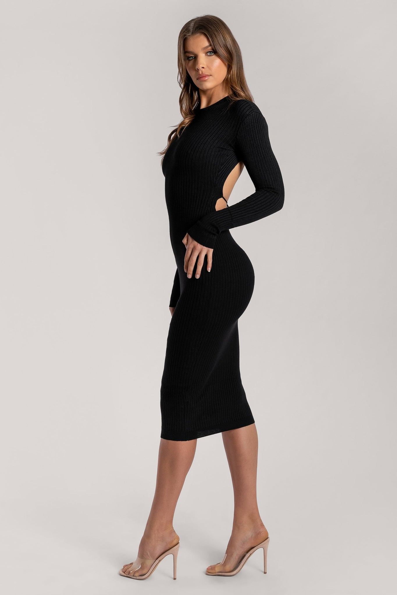 Aliza Cut Out Tie Back Long Sleeve Midaxi Dress - Black - MESHKI