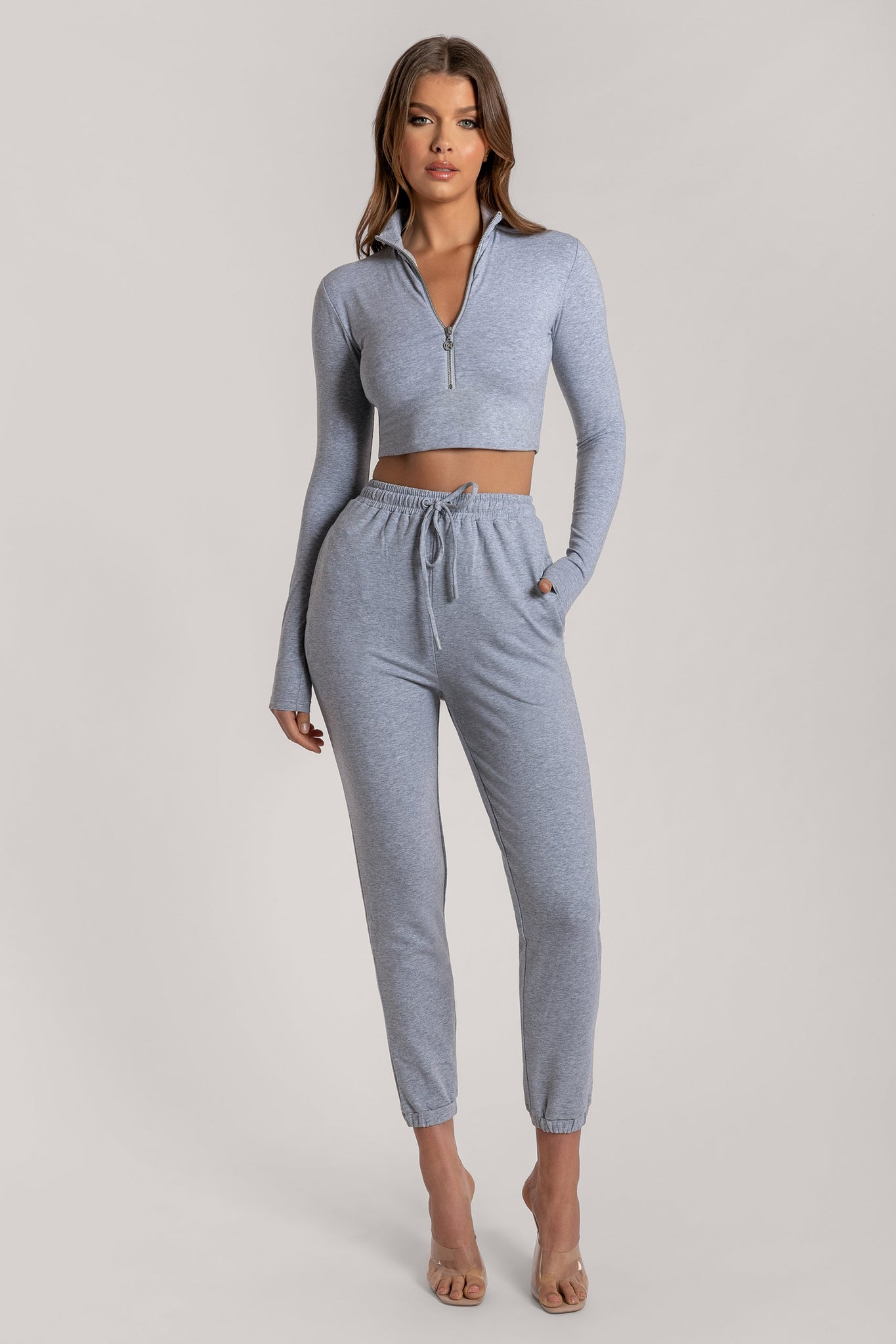 Ashlea Long Sleeve Zip Up Crop Top - Grey Marle - MESHKI