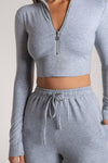 Ashlea Long Sleeve Zip Up Crop Top - Cornflower Blue