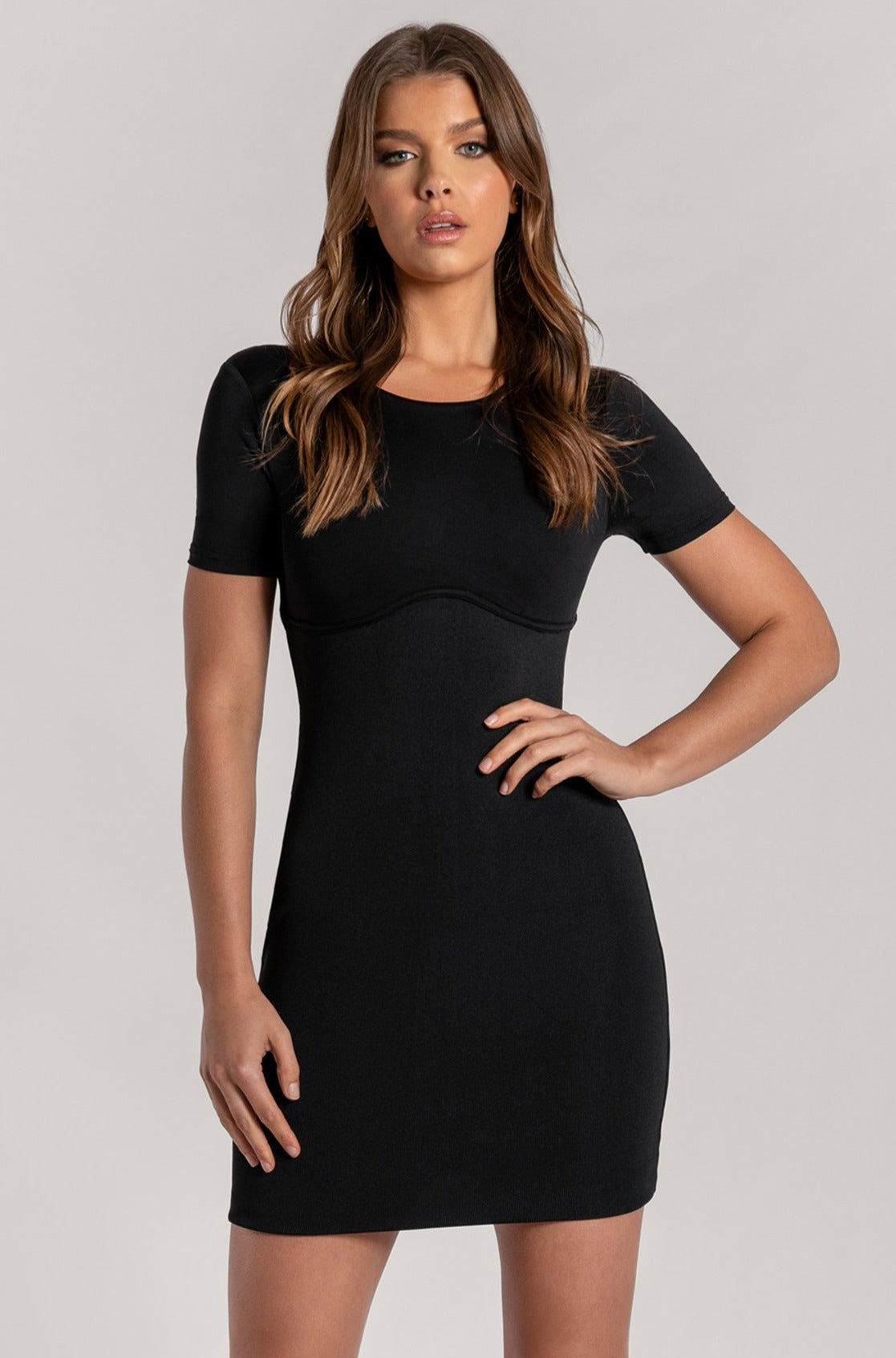 Kenzie Corsetted Waist Short Sleeve Mini Dress - Black - MESHKI
