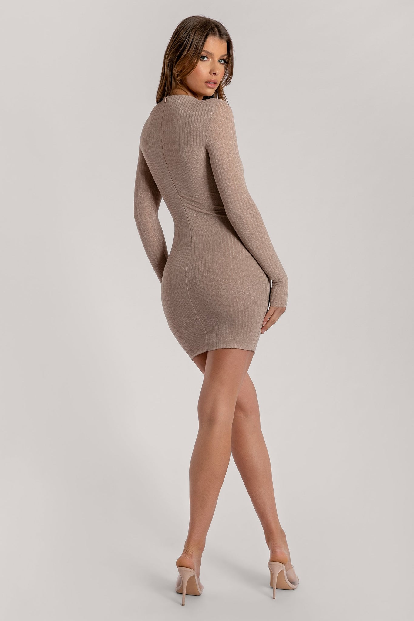 Emilie Long Sleeve Sparkle Rib Knit Mini Dress - Nude - MESHKI