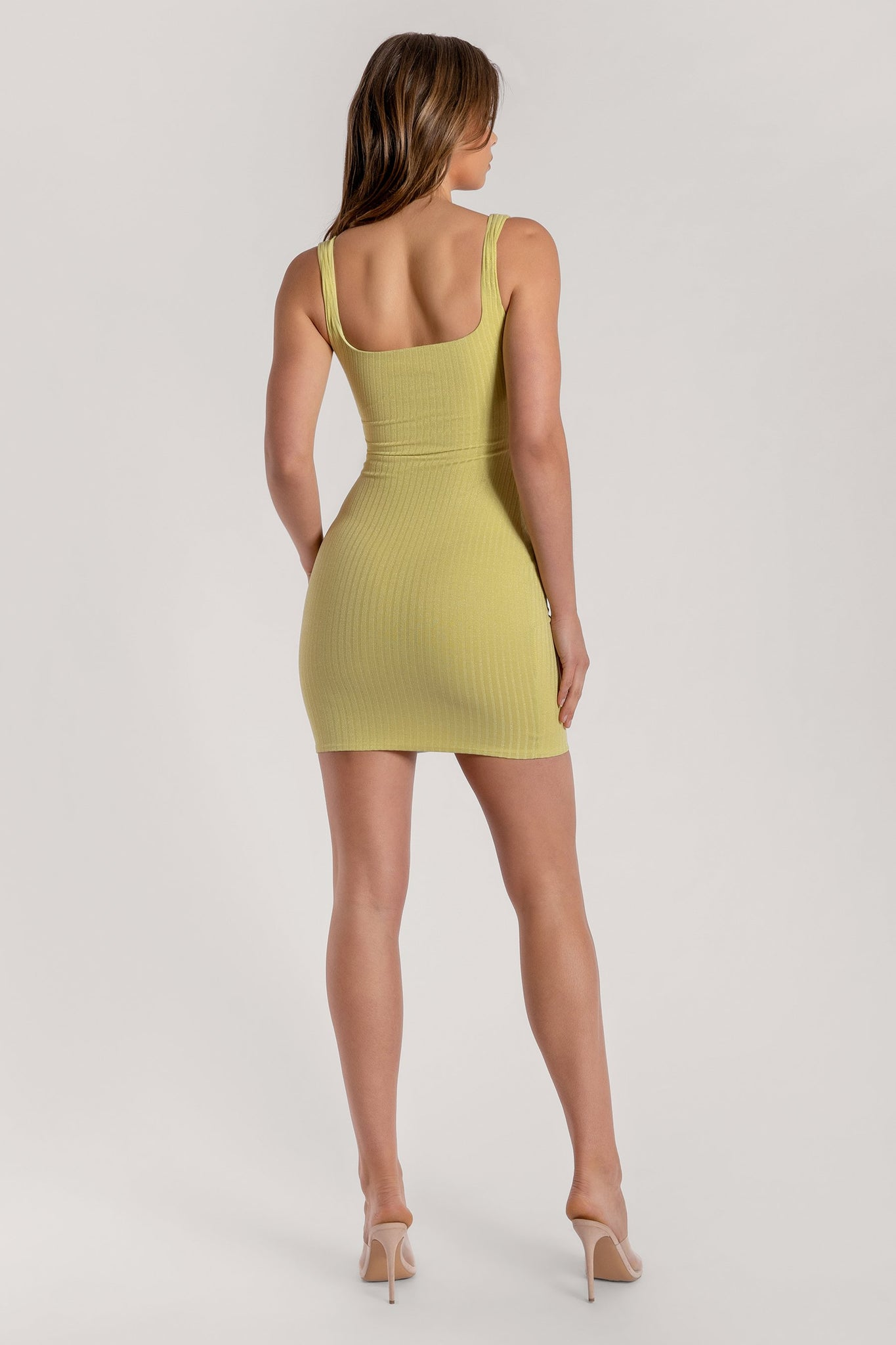 Salma Shimmer Rib Sleeveless Mini Dress - Lemon - MESHKI
