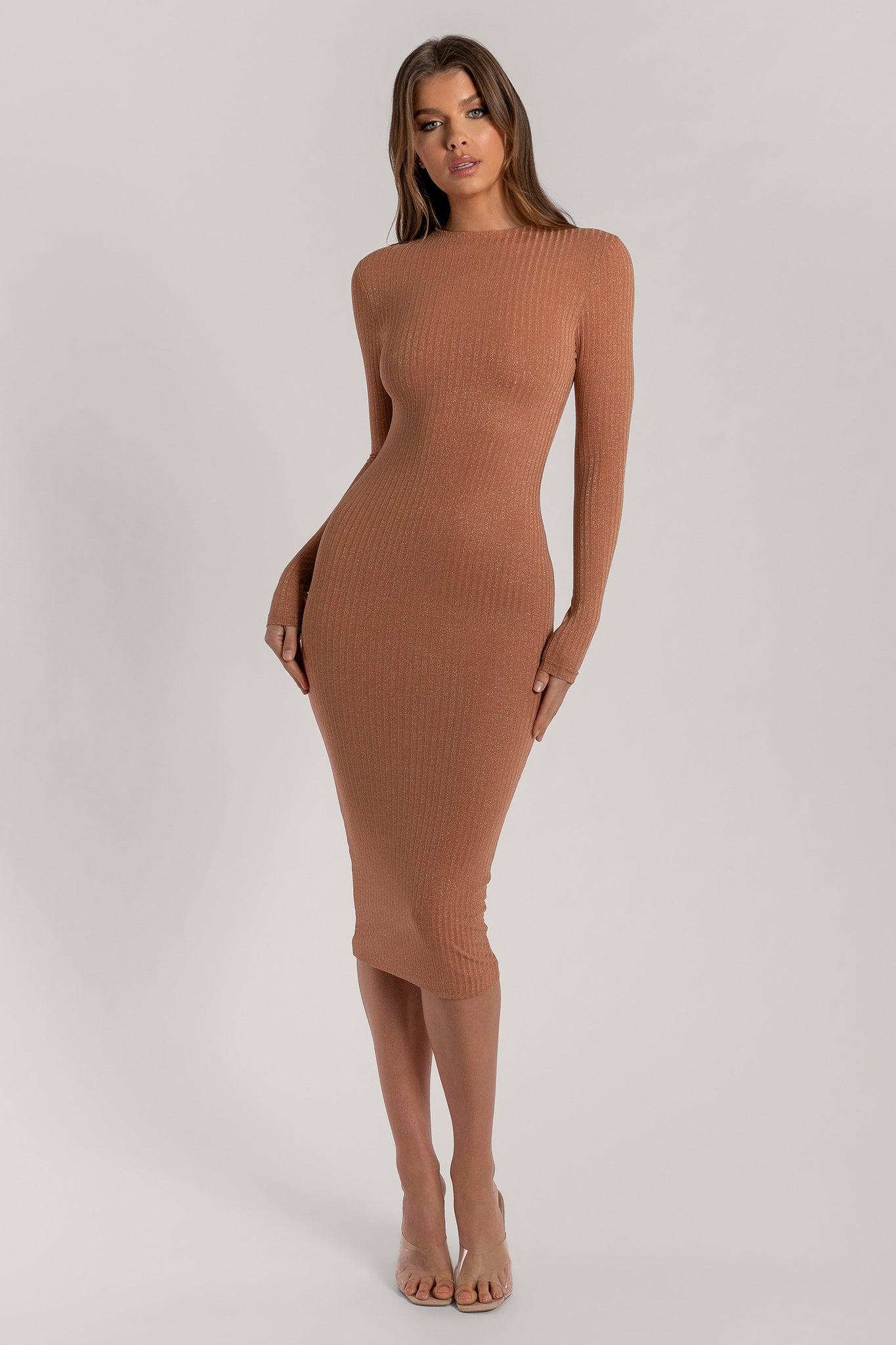 Kassandra Shimmer Rib Long Sleeve Maxi Dress - Bronze - MESHKI