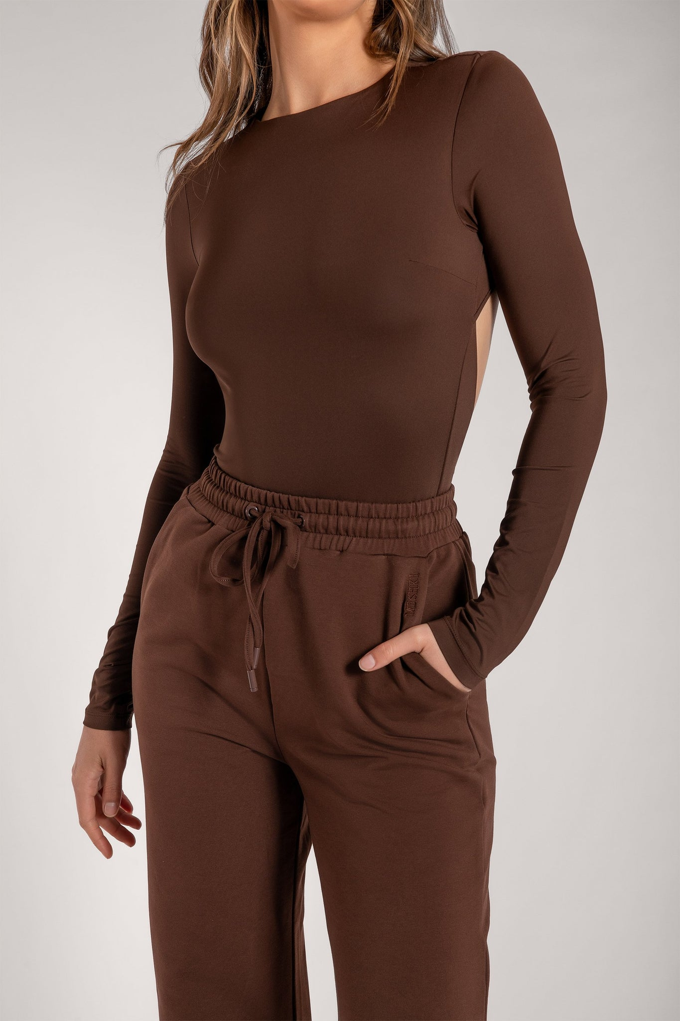 Rayne Cut Out Long Sleeve Bodysuit - Chocolate - MESHKI