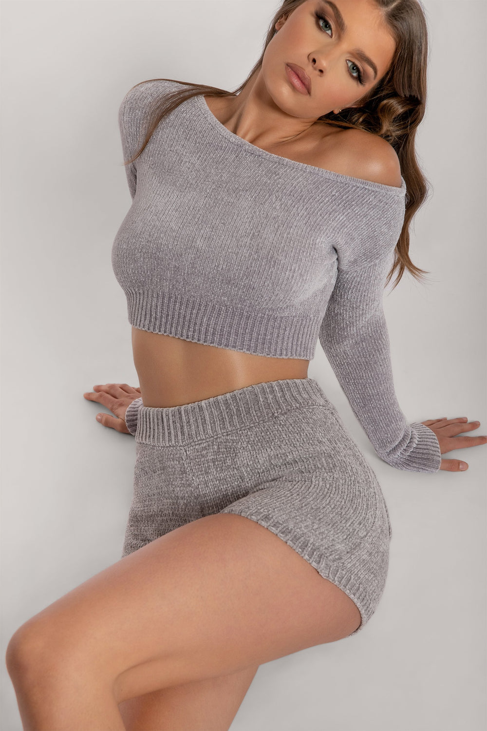 Neema Chenille Off The Shoulder Top - Grey - MESHKI