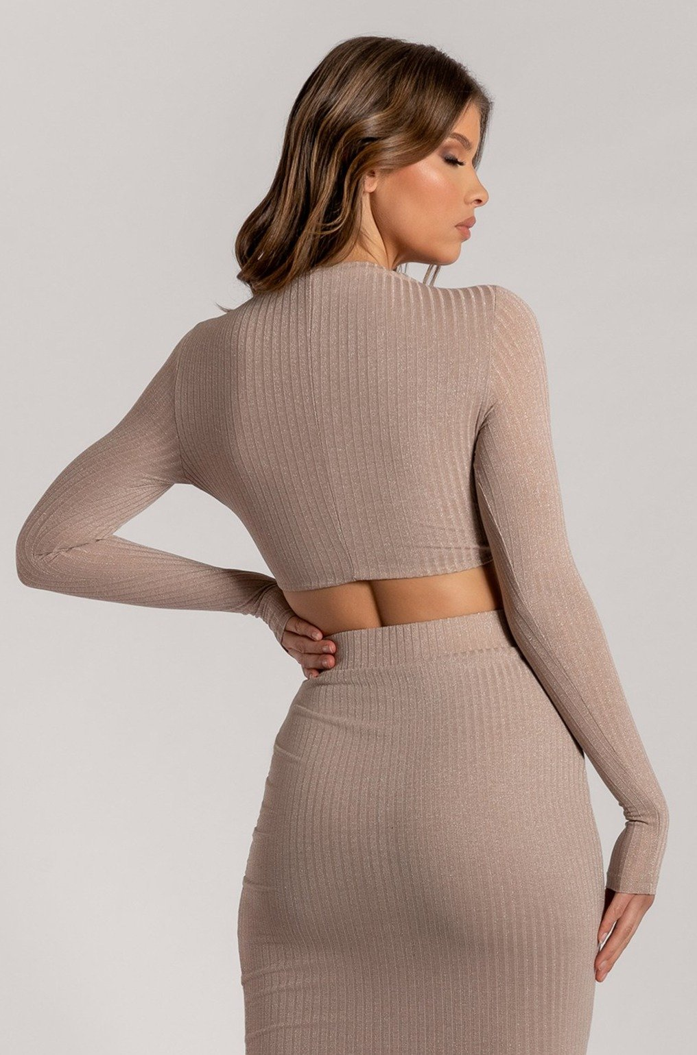 Iliana Shimmer Rib Long Sleeve Crop Top - Nude - MESHKI