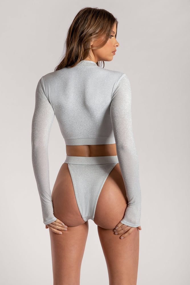 Martina Zip Front High Waisted Bikini Bottom - Silver - MESHKI