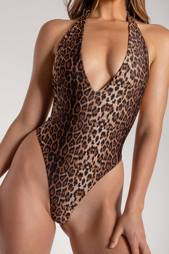 Veronica Low Back Meshki Logo One Piece - Leopard - MESHKI