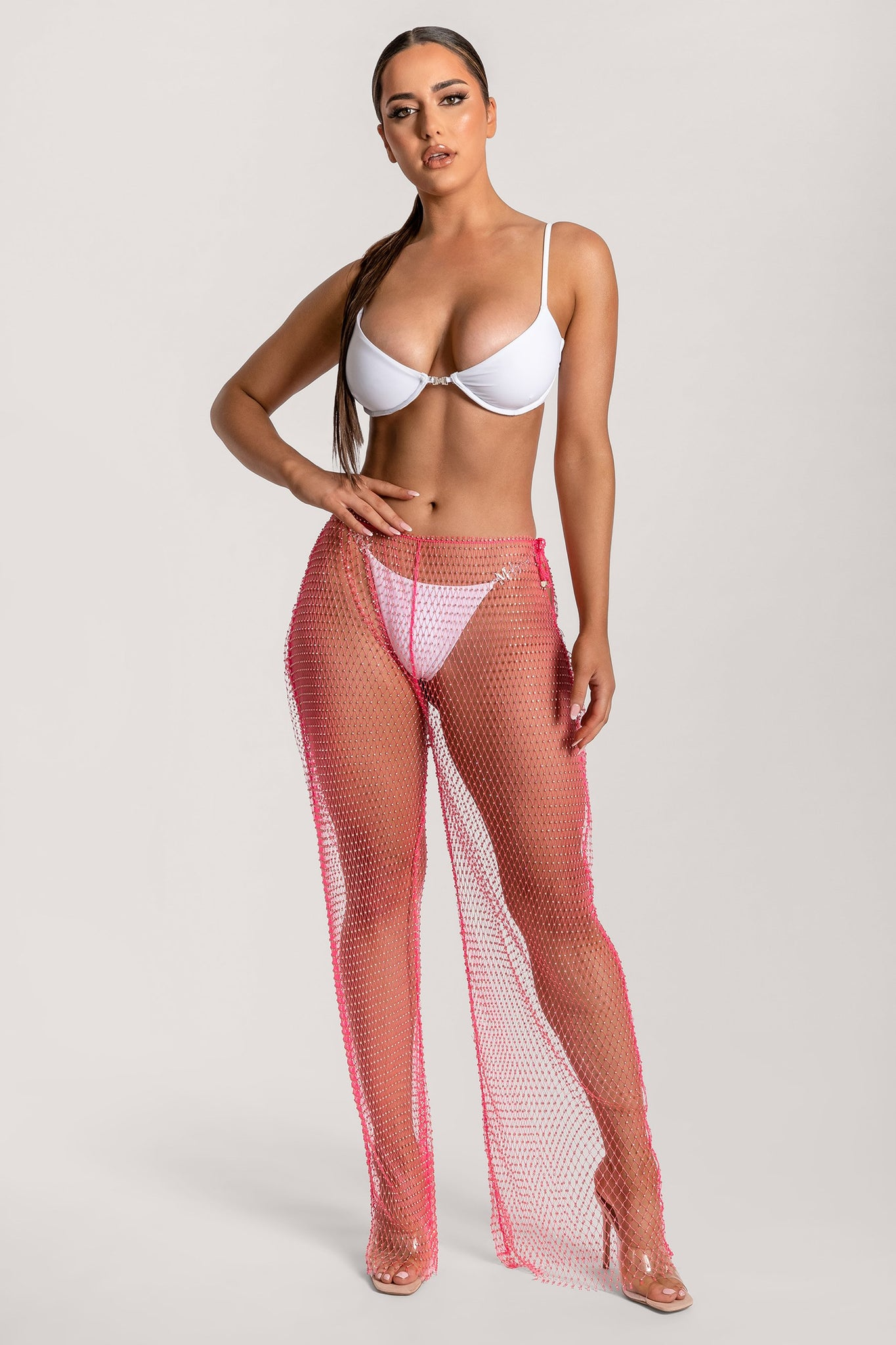 Shimmi Fishnet Diamante Wide Leg Pants - Pink - MESHKI