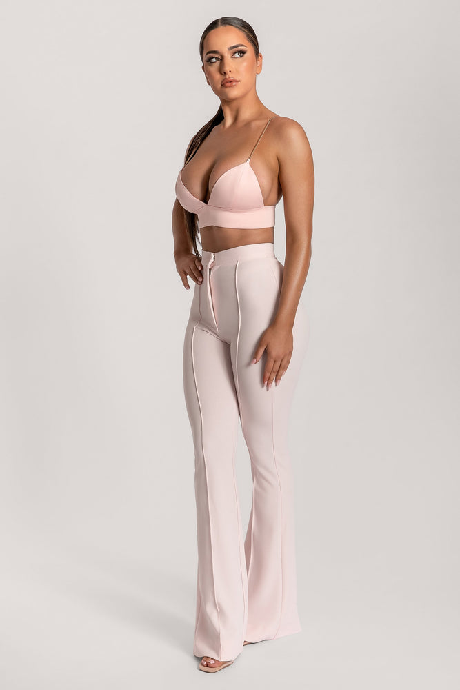 Zendaya Highwaisted Flare Pants - Blush - MESHKI