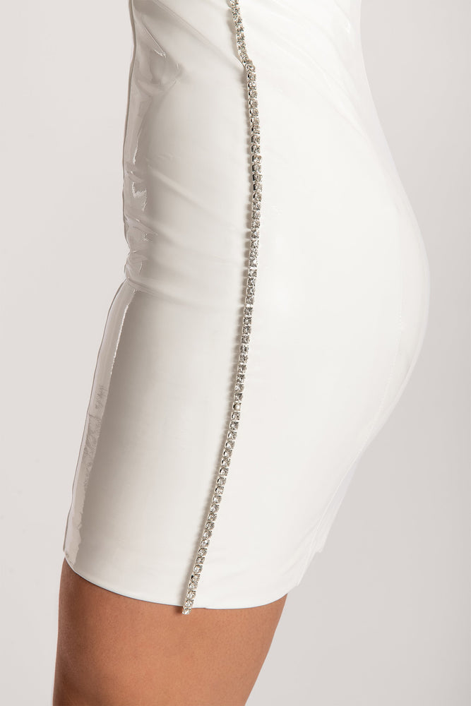Liza Diamante Side Trim Latex Strapless Dress - White - MESHKI