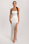 Devon Diamante Drape Strapless Maxi Dress - Ivory